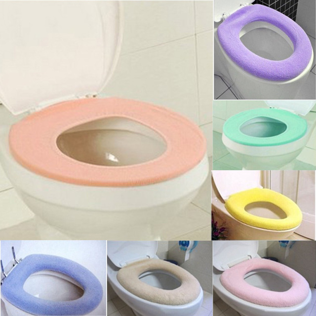 plastic toilet seat covers. 1pc Random Color Warm Toilet Seat Cover For Bathroom Product Oval shaped  Solid Comfortable