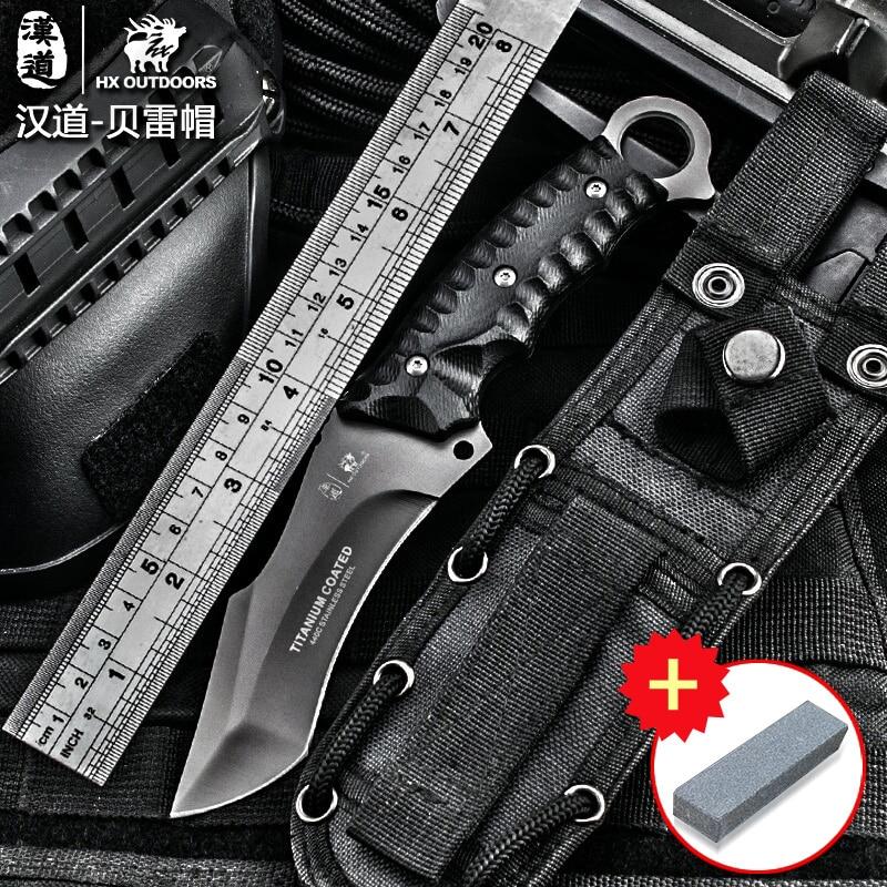 HX OUTDOORS lauko taktinis peilis Didelio kietumo stovyklavimo peilis kempingas medžioklės išgyvenimo peilis K10 rankena 440C peilis