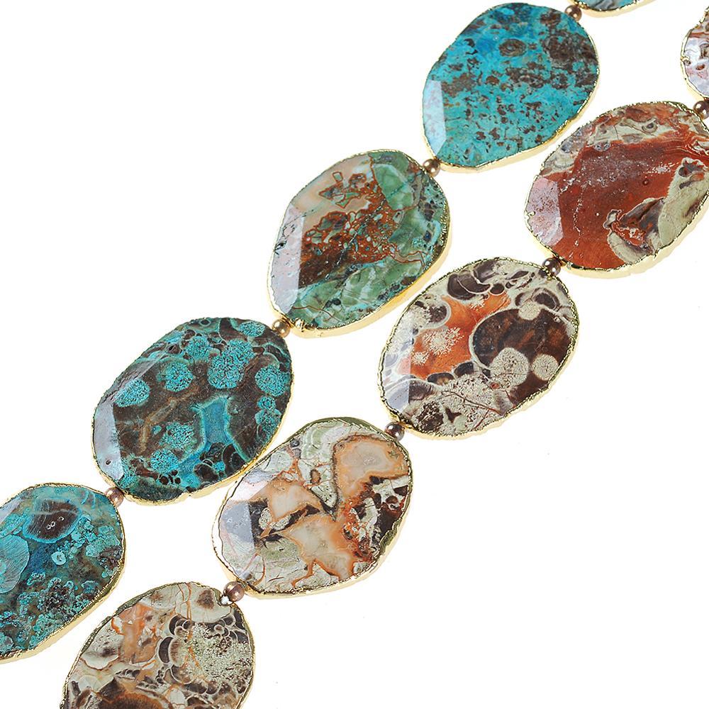 Pierres naturelles à facettes fissures Agates Quartz Druzy perles en vrac pierres précieuses espace brin perles pour la fabrication de bijoux à bricoler soi-même collier 15.5