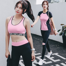 Sport wear women newest 3 piece racerback bra yoga suit for girls workout gym tarvel shopping fitness clothing breathable skinny