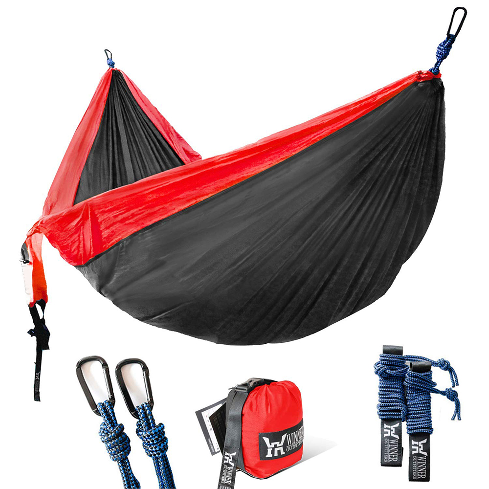 Single & Double Camping Hammock With Hammock Tree Straps Portable Parachute Nylon Hammock For Backpacking Travel