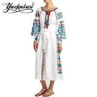 YACKALASI Mujeres Vestido Largo Elegante Vestidos Mori Niña Bordado Bohemio Étnico Diseñador Borlas Festival Robe Gown Vita Kin