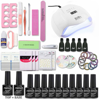 Nail Set With 54/48/40/6W UV LED Lamp Manicure Pedicure Accessories Manicure Tool Set choose 10 Color 1Top 1Base Nail Gel Kit