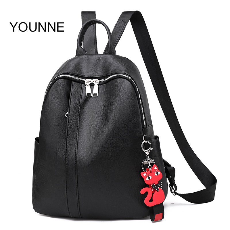 YOUNNE Women PU Leather Soft Backpack Large Capacity Cat Pendant Schoolbag For Travel Teenage Backpacks For Women backpacks 2019