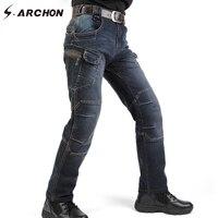 S ARCHON IX7 Design Military Style Tactical Denim Jeans Men Casual Cotton Biker Motorcycle Jeans Stretch