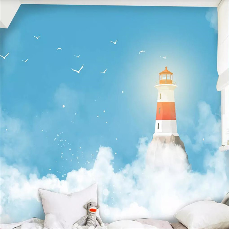 3d wallpaper modern blue sky lighthouse children 39 s room background wall custom large murals can be customized photo wall in Wallpapers from Home Improvement