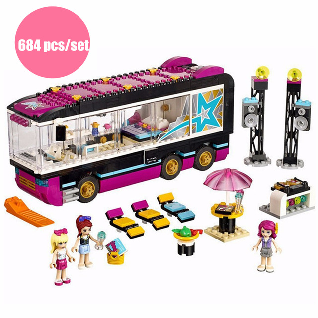 New heartlake Friends girls Pop Star Tour Bus fit legoings friends city model building blocks bricks girls diy toy gift kid set 10406 girls pop star show stage building blocks set 448pcs assemble toys compatible with blocks for girls gift