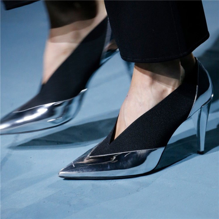 Designer New 2019 Fashion Week T Show Women Pumps Pointed Toe V Shallow Slip On Ladies Shoes High Heels Stilettos Party Zapatos - 4
