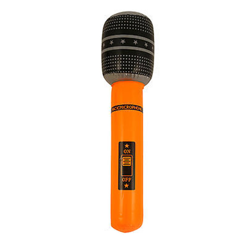 Inflatable Microphone Blow Up Toy Mic Neon Fancy Dress Party Accessory Karaoke