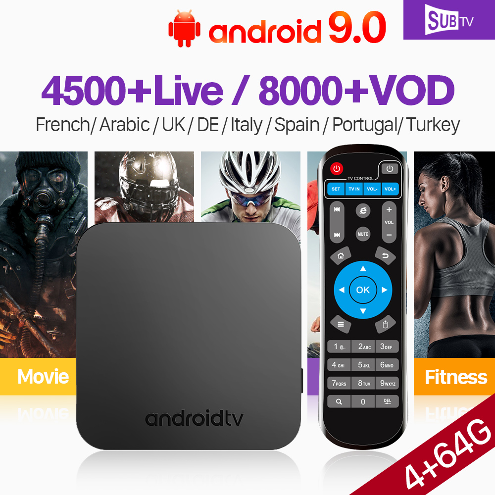 KM9 IPTV France Spain SUBTV Code 1 Year Android 9.0 Tv Box S905X2 4GB 64GB French IPTV Turkish Portugal IPTV Italia Arabic IP TV
