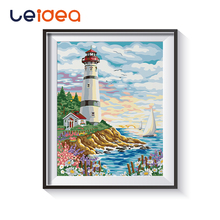 Seaside Lighthouse Picture Painting by numbers Landscape Building With Kits Package On Canvas Coloring Paint