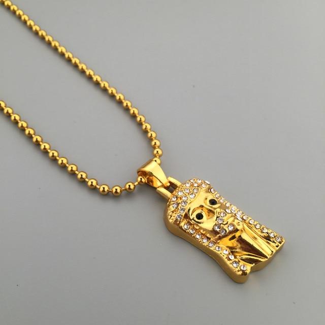 Golden iced out mini jesus pendant hip hop bling rhinestone charm golden iced out mini jesus pendant hip hop bling rhinestone charm ball chain necklace mens jewelry aloadofball Choice Image