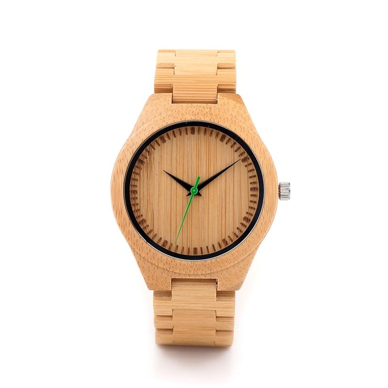 BOBO BIRD G26 Basic Mens Bamboo Wood Wristwatch Bamboo Face Green Second Quartz Watch with Bamboo