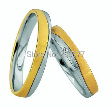 La bague de bijoux de bandes de mariage de santé de couleur d'or jaune bicolore occidental place anillos de boda anillos de compromiso