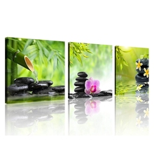 Zen Canvas Prints 3 Panel Wall Decor Spa Stone Green Bamboo Pink and Yellow Frangipani Picture Painting for Home Kitchen