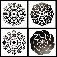 4Pcs/Pack DIY Painting Craft Mandala Stencils Template For Furniture Tile Fabric Decorative