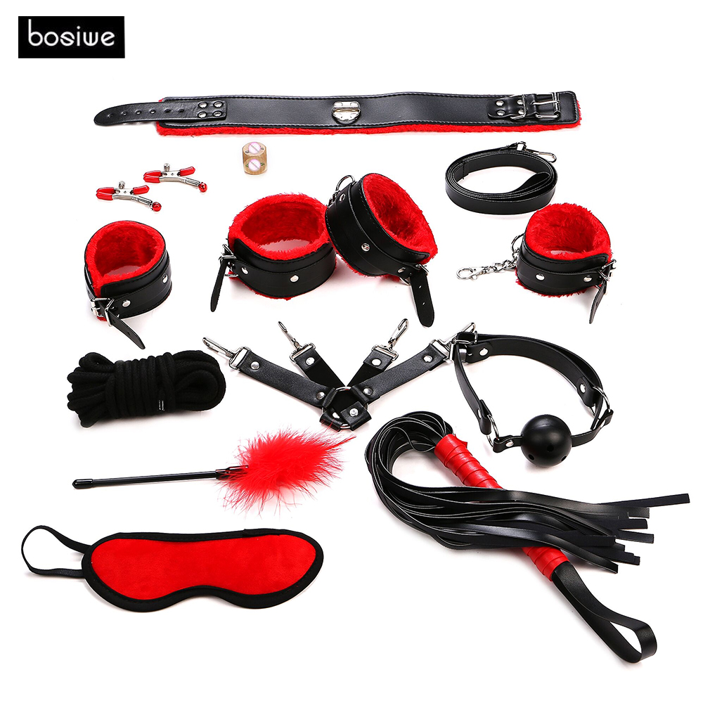 Sex Products 11 Pcs/Set BDSM Bondage Set Leather Fetish Adult Games Sex Toys for Couples Slave Game SM Product Collar Eye Mask cheap 10pcs set bdsm bondage plush black leather sex toys fetishes erotic sex game products hand cuffs collar gag for couples