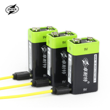 ZNTER 4pcs 9V 400mAh lithium li-po li-ion rechargeable battery + micro usb cable for charging