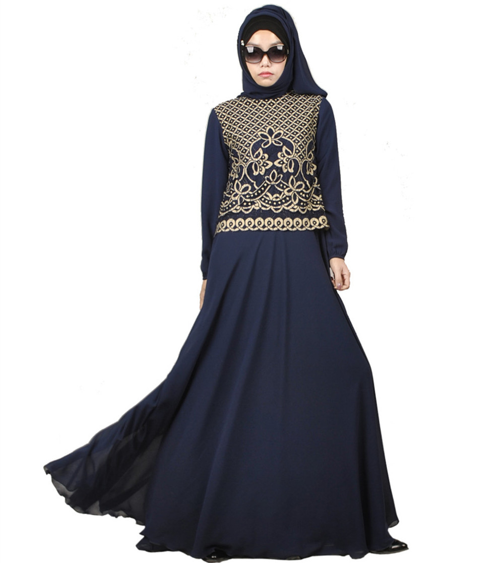 2016 Fashion Chiffon Muslim Abaya Dubai Islamic Clothing For Women Embroidery Abaya Jilbab
