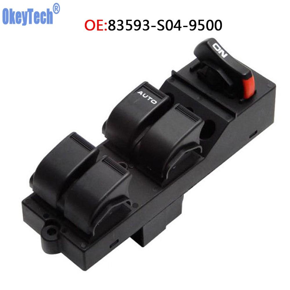 OkeyTech 83593 S04 9500 Master Power Window Control Switch for Honda Civic CX EX HX LX