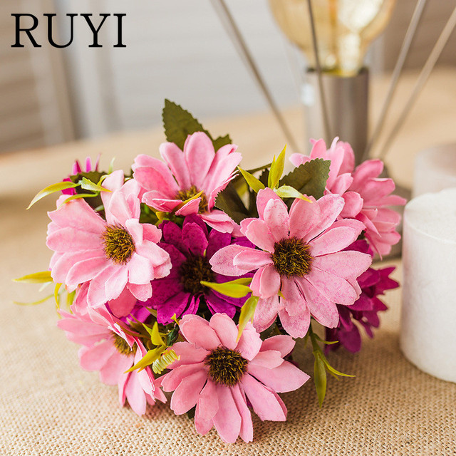 European Style Silk Persia Daisy Artificial Chrysanthemum Fall Flower Simulation Bouquet Wedding Decoration Home Office