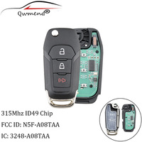QWMEND 2+1Buttons Remote Car key ID49 Chip 315Mhz For Ford N5F A08TAA For Ford F Series trucks Explorer Ranger 2015 2019 keys