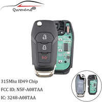 QWMEND 2+1Buttons Remote Car key ID49 Chip 315Mhz For Ford N5F-A08TAA For Ford F-Series trucks Explorer Ranger 2015-2019 keys
