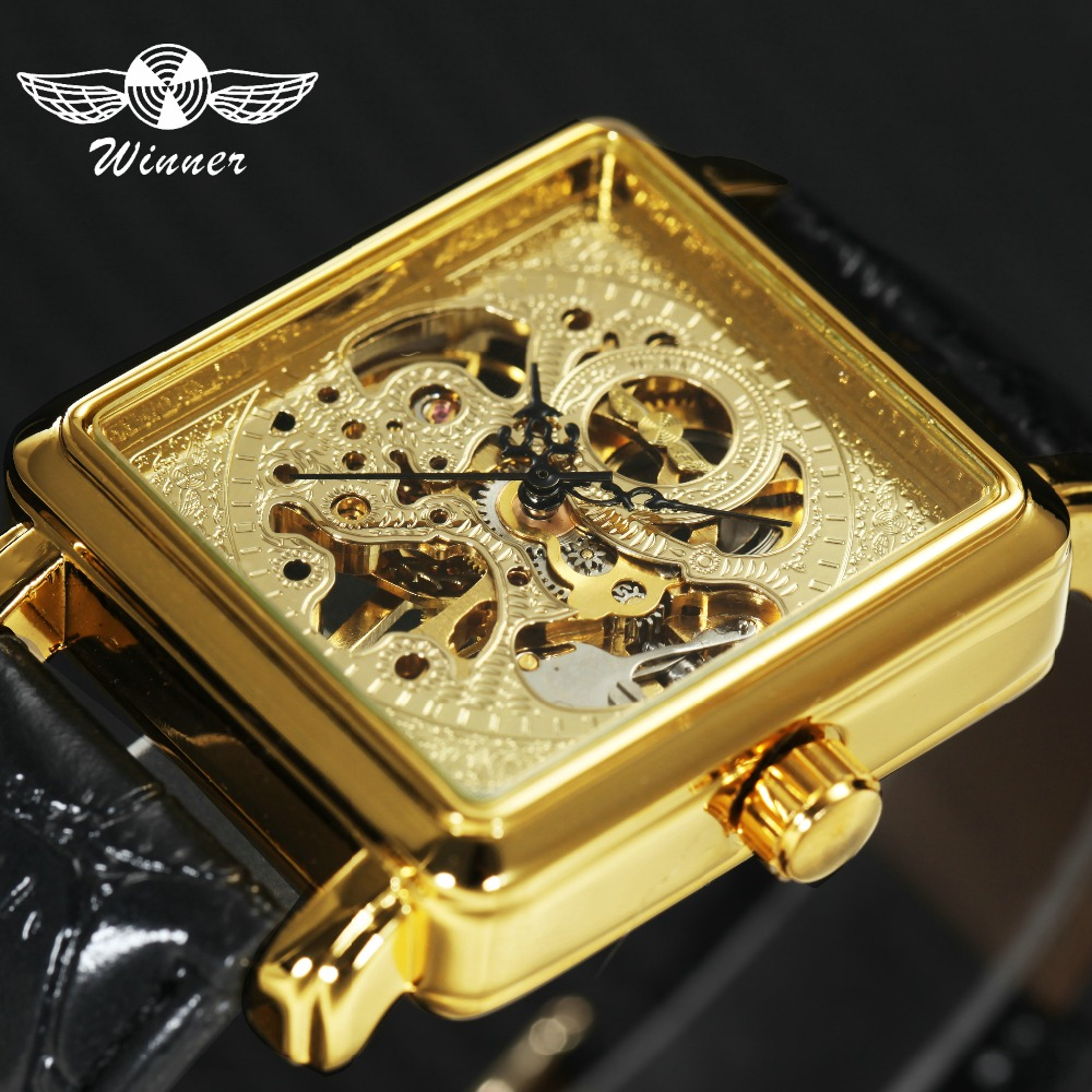 Mechanical Unisex Leather Strap Tonneau Skeleton Square Dial Golden Dress Wrist Watches
