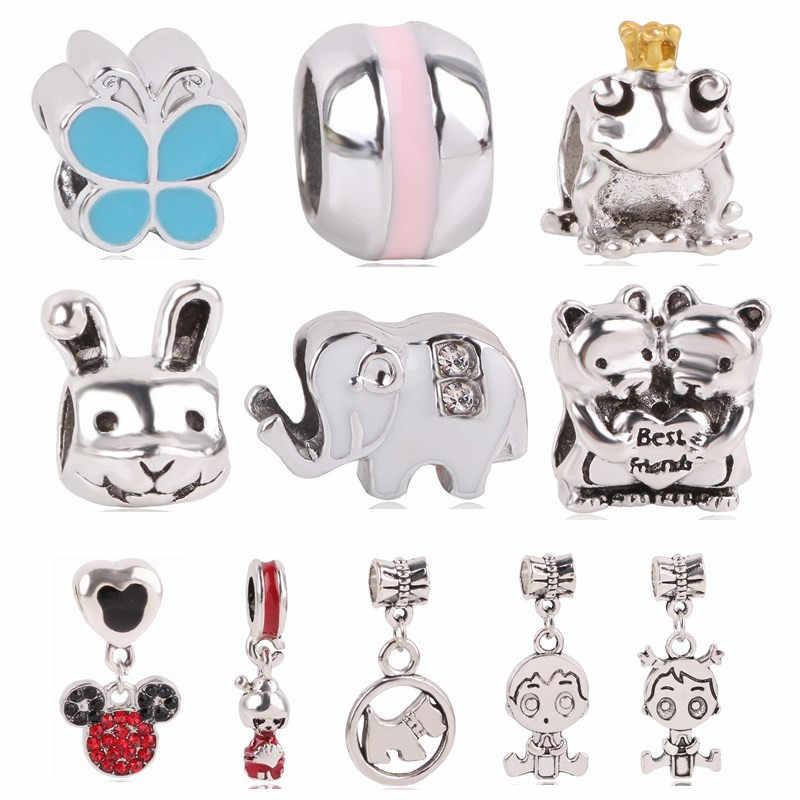 f02e72c592a5 Couqcy elefante mariposa conejo Mickey Boy colgante con cuentas de plata  azul dijes Fit Pandora pulseras