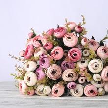 Европейская винтажная чайная роза из искусственного шелка, 6 головок, 4 маленьких бутона, букет для свадьбы, дома, ретро, искусственные цветы, вечерние украшения своими руками