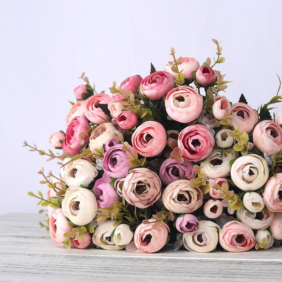 European Vintage Artificial Silk Tea Rose Flowers 6 head 4 Small bud Bouquet Wedding Home Retro Fake Flower Party DIY Decoration(China)