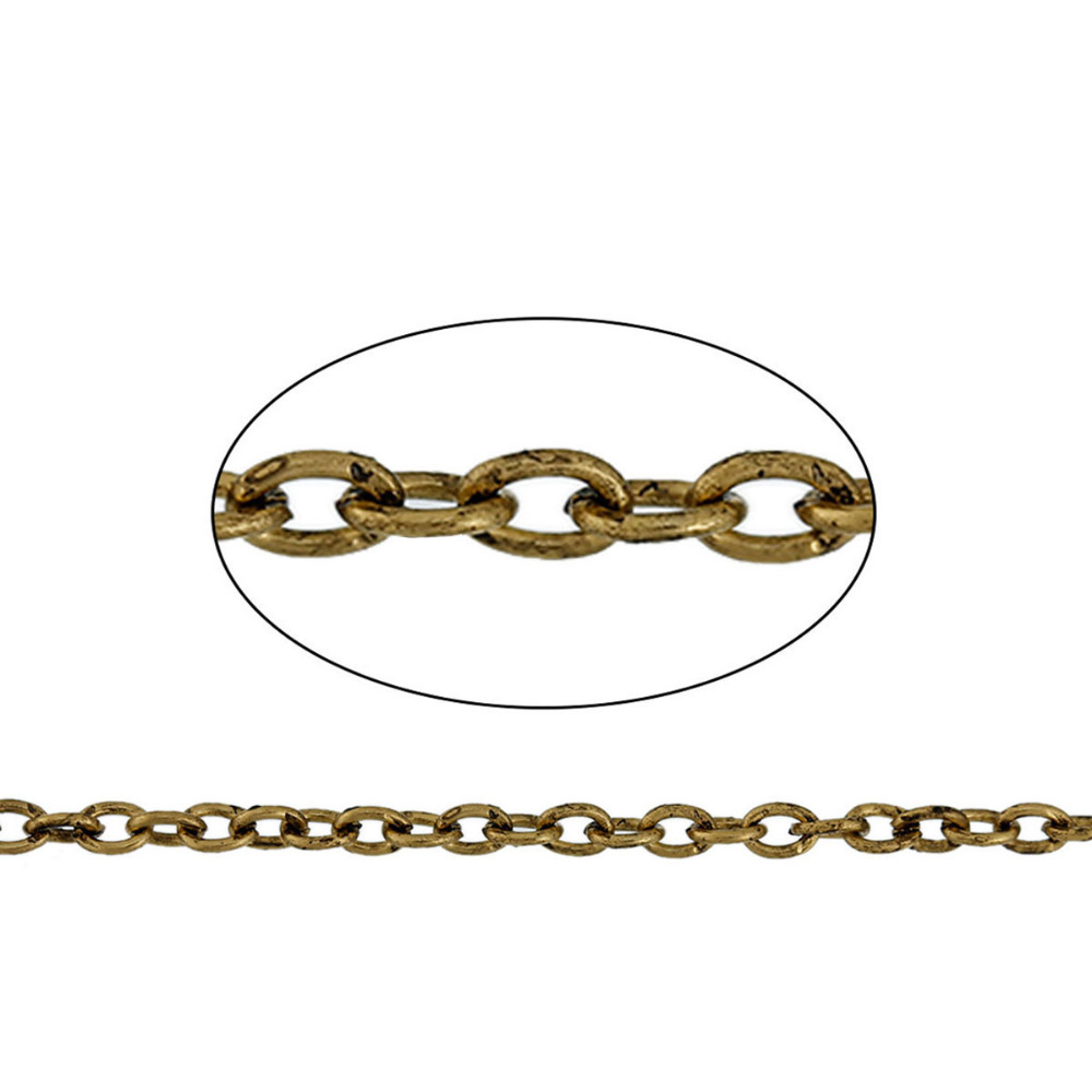 DoreenBeads Iron Based Alloy Antique Gold Link Cable Chain Findings Gold Tone DIY Chains 3.7x2.7mm, 50cm Long, 1 Piece