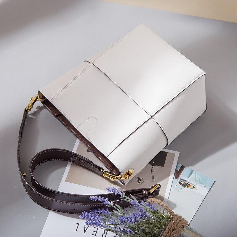 Nieuwe Vrouwen emmer tas Echt Leer Koeienhuid Draad designer Composite messenger Bag Crossbody Winkelen handtas met 2 bandjes - 5