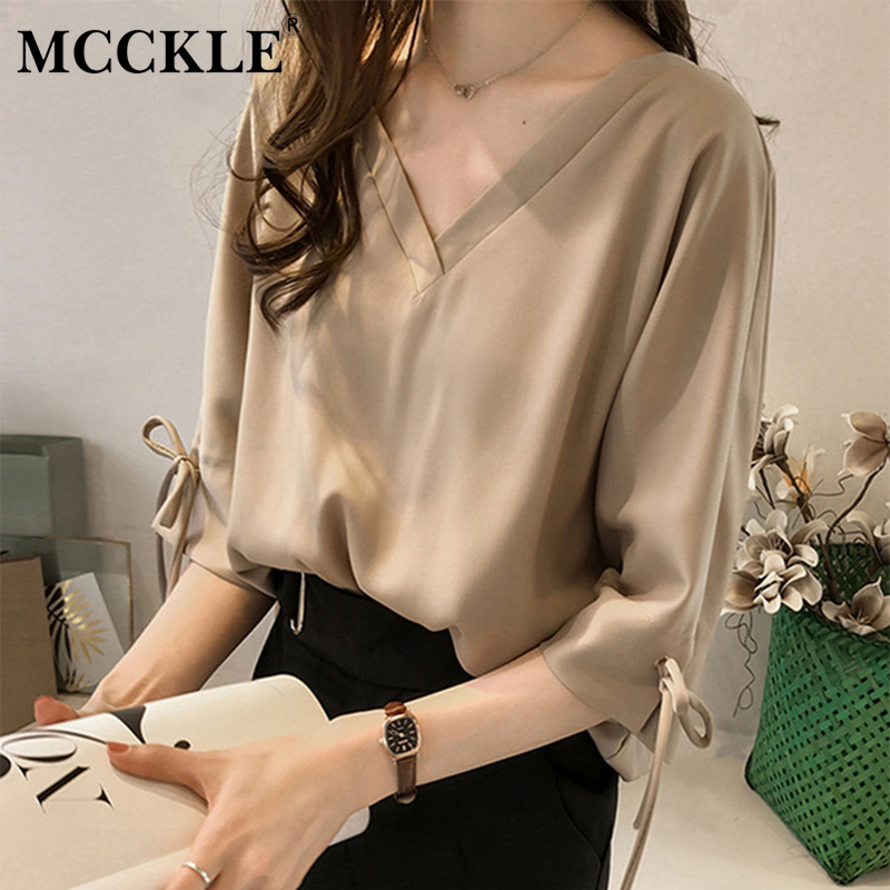 Women's Chiffon V-neck 3/4 Sleeve   Blouse     Shirt   Plus Size 4XL Solid Bowtie Office Lady   Blouses   2019 Spring Summer Loose   Shirts