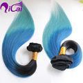 Blue Clip In Hair Brazilian Virgin Hair 10pc/set Ombre 2 Tone 1b/Blue/Green Clip In Hair Extension Ombre Blue Clip In Human Hair