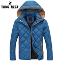 TANGNEST 2017 Solid Color Hooded Men's Warm Jacket Winter Fashion Casual Jacket Men Thick Comfortable Parka Men Size 3XL MWM1403