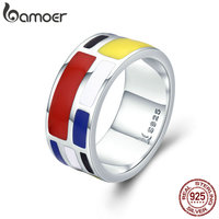 BAMOER Authentic 100 925 Sterling Silver Colorful Enamel Geometric Square Finger Rings For Women Sterling Silver