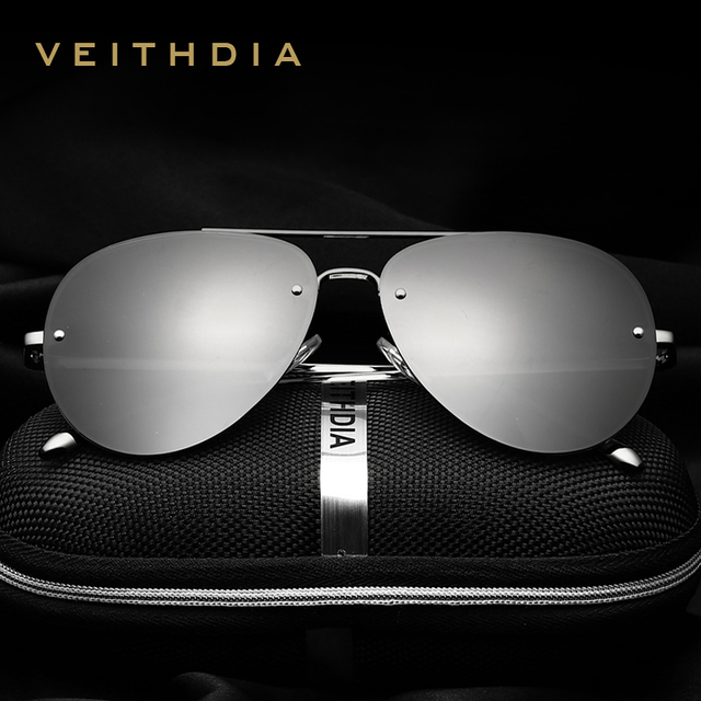 VEITHDIA fashion original Brand designer Rimless Unisex Driving Sun Glasses Polarized Mirror aviation Sunglasses For Men/Women
