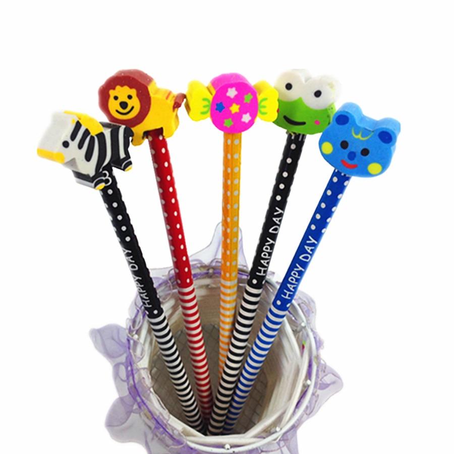 50pcs/lot Cute cartoon Animal design wooden pencil with eraser stationery set Kids' gift prize set Wholesale
