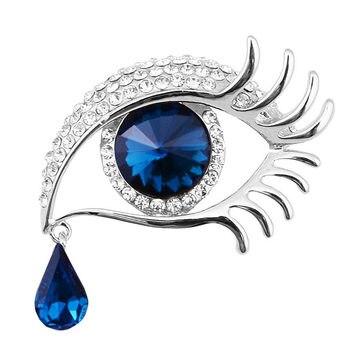 Varejo! Moda Suspenso Lágrima longo Cílios Olhos Grandes Cristais de jóias Broche de Venda Quente Broche De Ouro Tom de Strass Olho