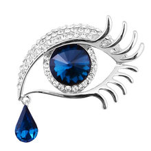 Retail!Fashion Suspended Teardrop long Eyelashes Big Eyes jewelry Crystals Brooch Hot Selling Gold Tone Rhinestone Eye Broach