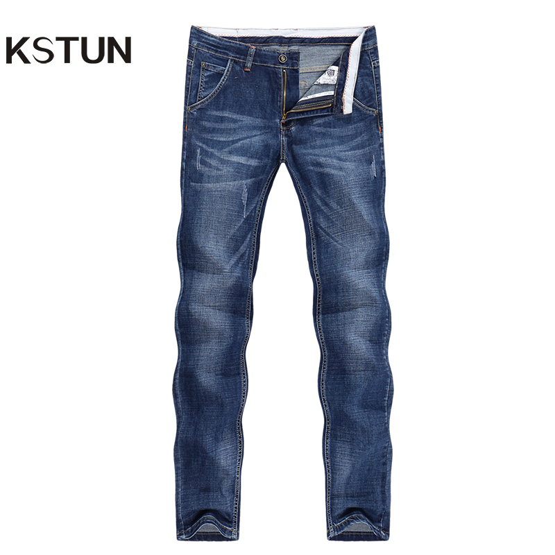 KSTUN Jeans Men Summer 2019 Thin Blue Slim Straight Denim Pants Casual Fashion Men's Trousers Full Length Cowboys Man Homme Jean