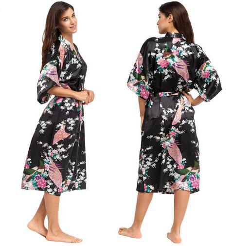 Top SaleSatin Robe Silk Kimono Bridesmaid Sizes-Xxxl Night-Grow Summer for Plus 010412