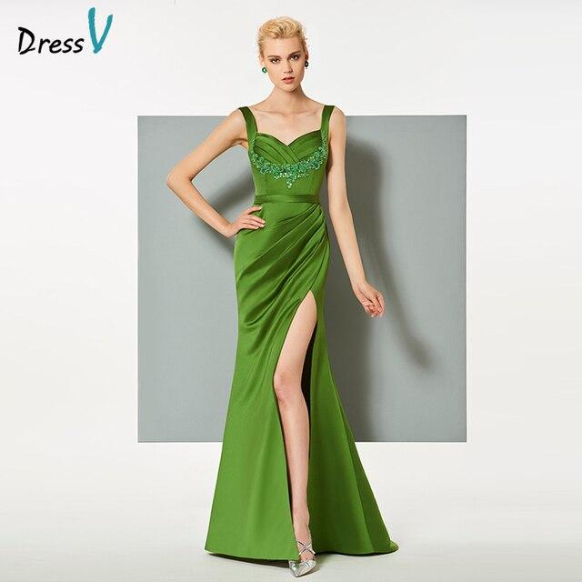 71a74c415a5e Dressv verde abito da sera lungo sweep treno senza spalline sirena backless della  festa nuziale vestito