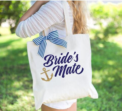 Custom Glitter Anchor Wedding Bridesmaid Maid Of Honor Tote Bags Champagne Party Gift Bachelorette Bridal Shower Favors In Diy Decorations From