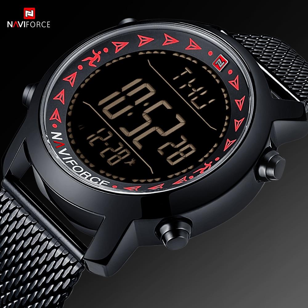 NAVIFORCE Men Sport Watch Digital LED 30M Waterproof Men Watches Calendar Pedometer Mens Full Steel Outdoor Male Clock Relogio
