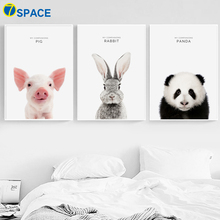 Pig Rabbit Panda Wall Art Canvas Painting Nordic Posters And Prints Animals Decoration Pictures For Kids Room Art Prints Decor chinese color pencil drawing animals fox crab parrot panda pig painting art book