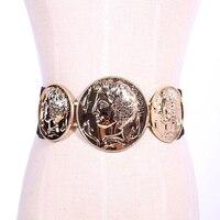 New Fashion Vintage Baroque Metal Head Portrait Belts Women S Gold Coins Leather Waist Straps Casual
