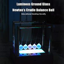 2cm Luminous Newton Cradle Balance Ball Dreamy Quite Aesthetic Ground Glass Pendulum Swinging Spheres For Desktop Decoration #WS(China)