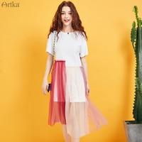 ARTKA 2019 Summer New Women Dress Fashion Pink Mesh Stitching Dress Loose Casual White T shirt Dress For Women LA15290X